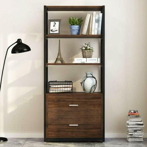 Multiple 3-Tier Open Bookshelf with 2 Storage Cabinets for H