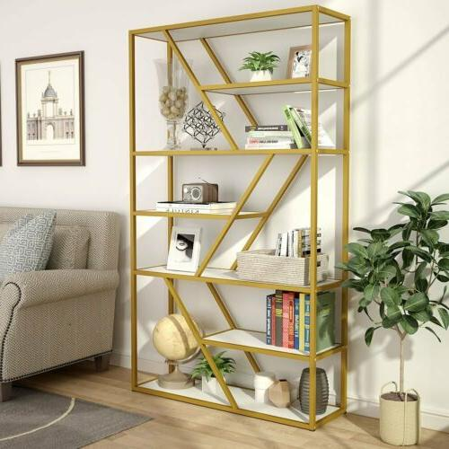 Tribesigns Bookcase Bookshelf with Gold