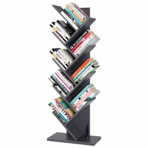 9 Tiers Tree Book Rack Display Storage Organizer Shelf