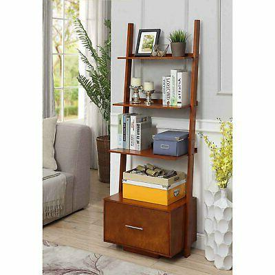 Convenience Concepts American Ladder Bookcase with Drawer