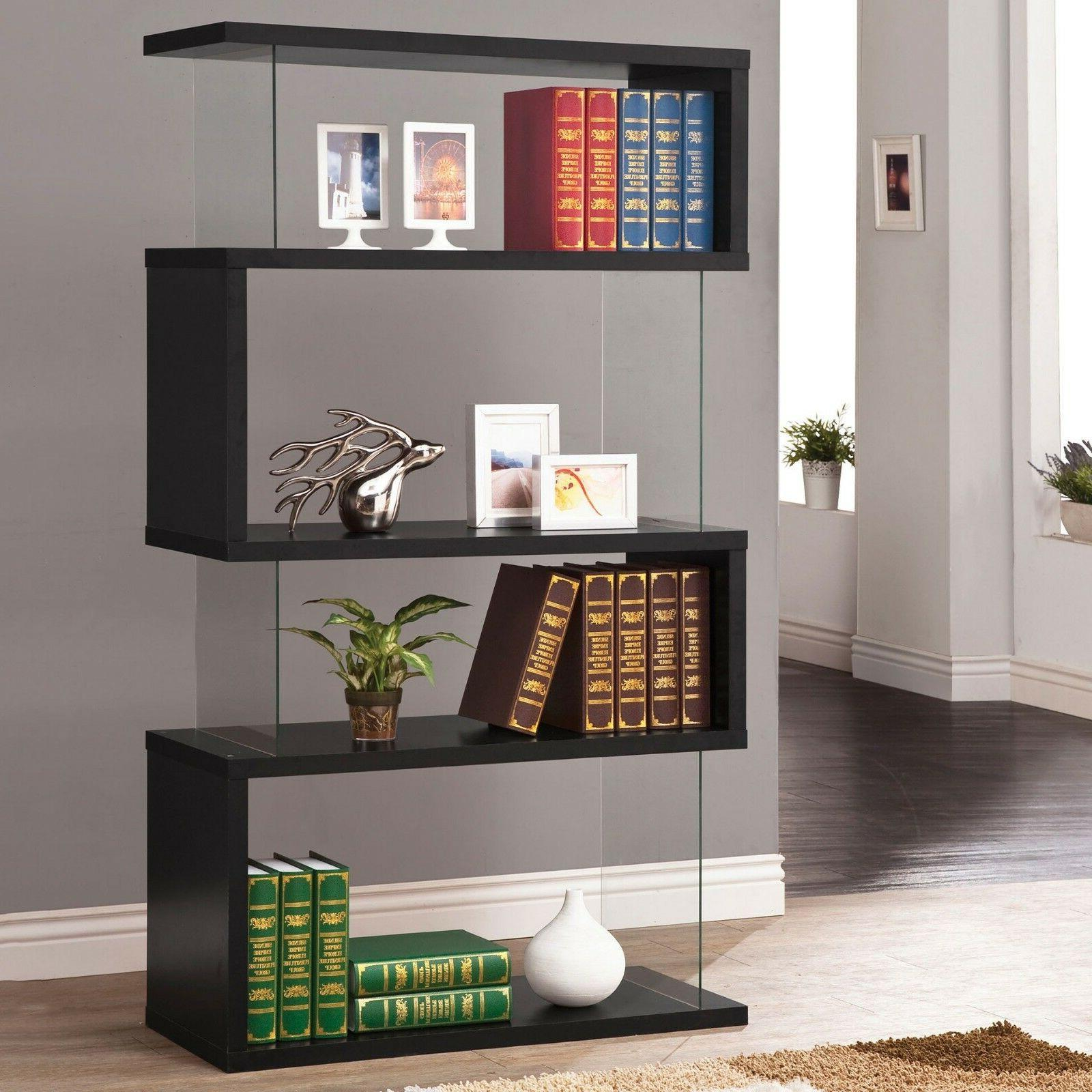 Black Wood Bookcase Shelf Display Living