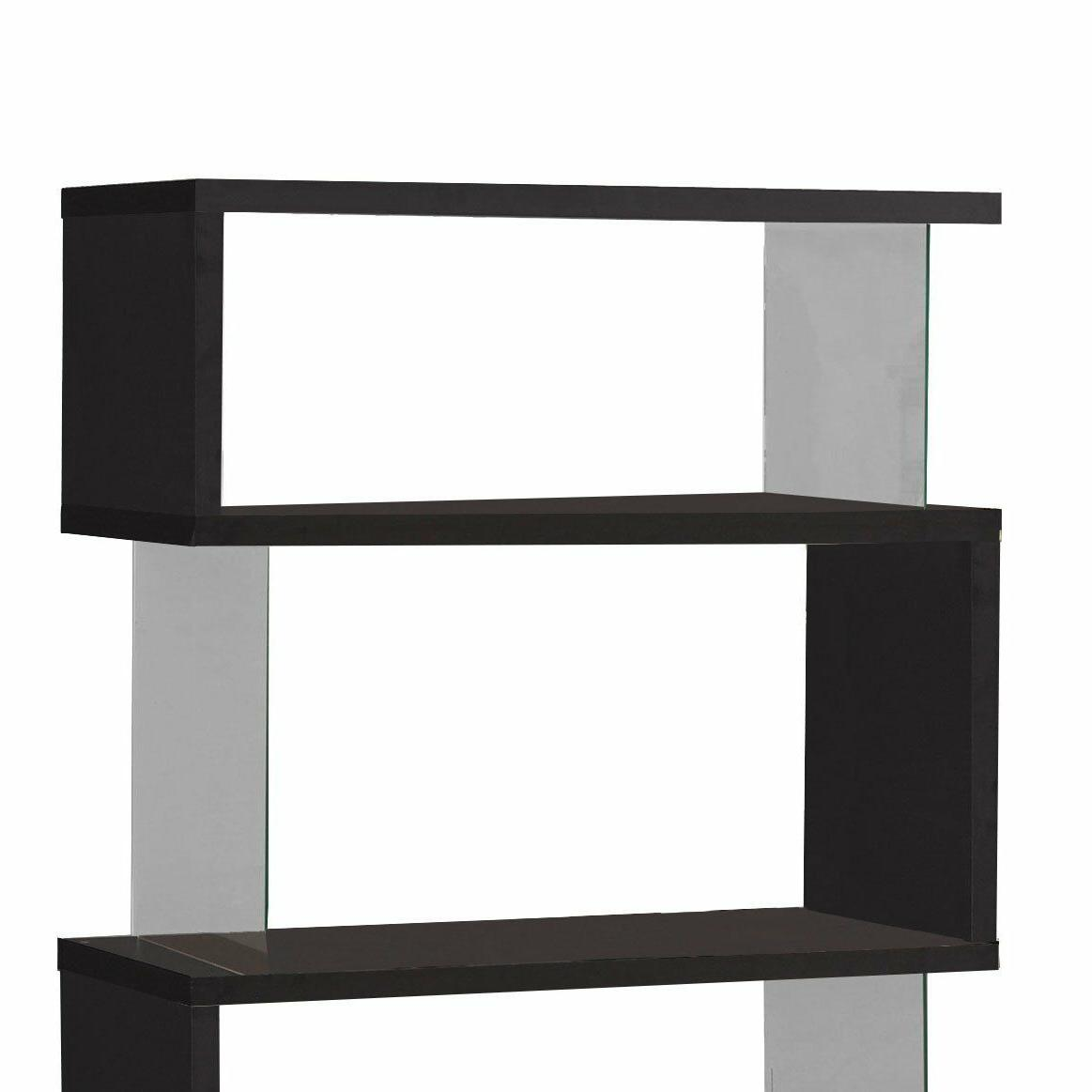 Black Wood Bookcase Bookshelf Display Living Office