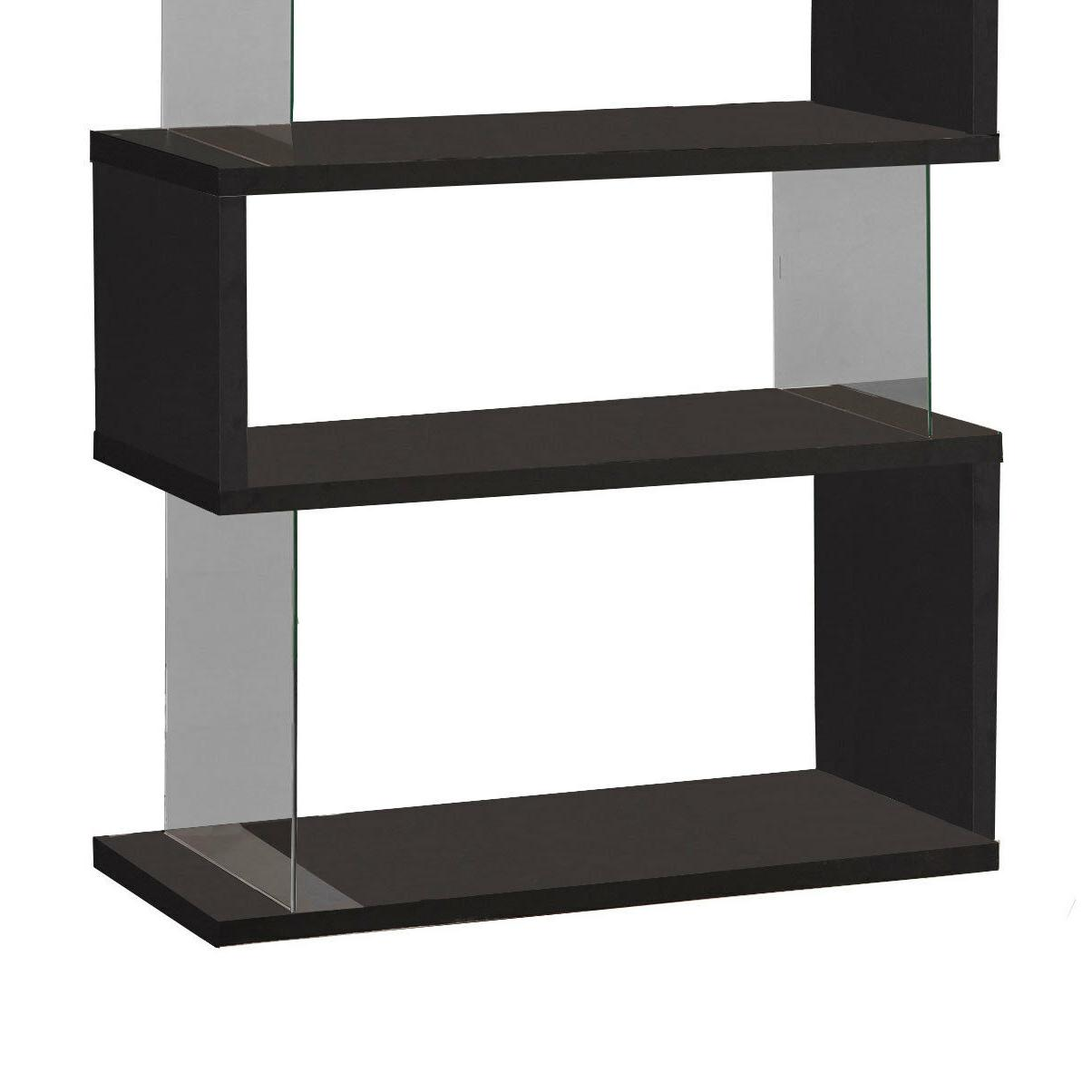 Black Wood Glass Bookcase Living Room