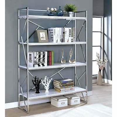 Merian Modern Chrome 4-shelf Bookcase by FOA Chrome N/A