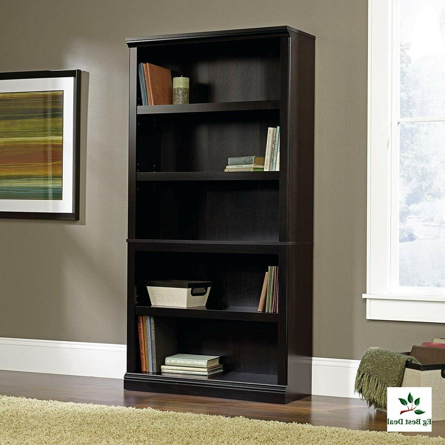 Narrow Bookshelf 5 Tier Tall Bookcase Black Sauder Large Woo