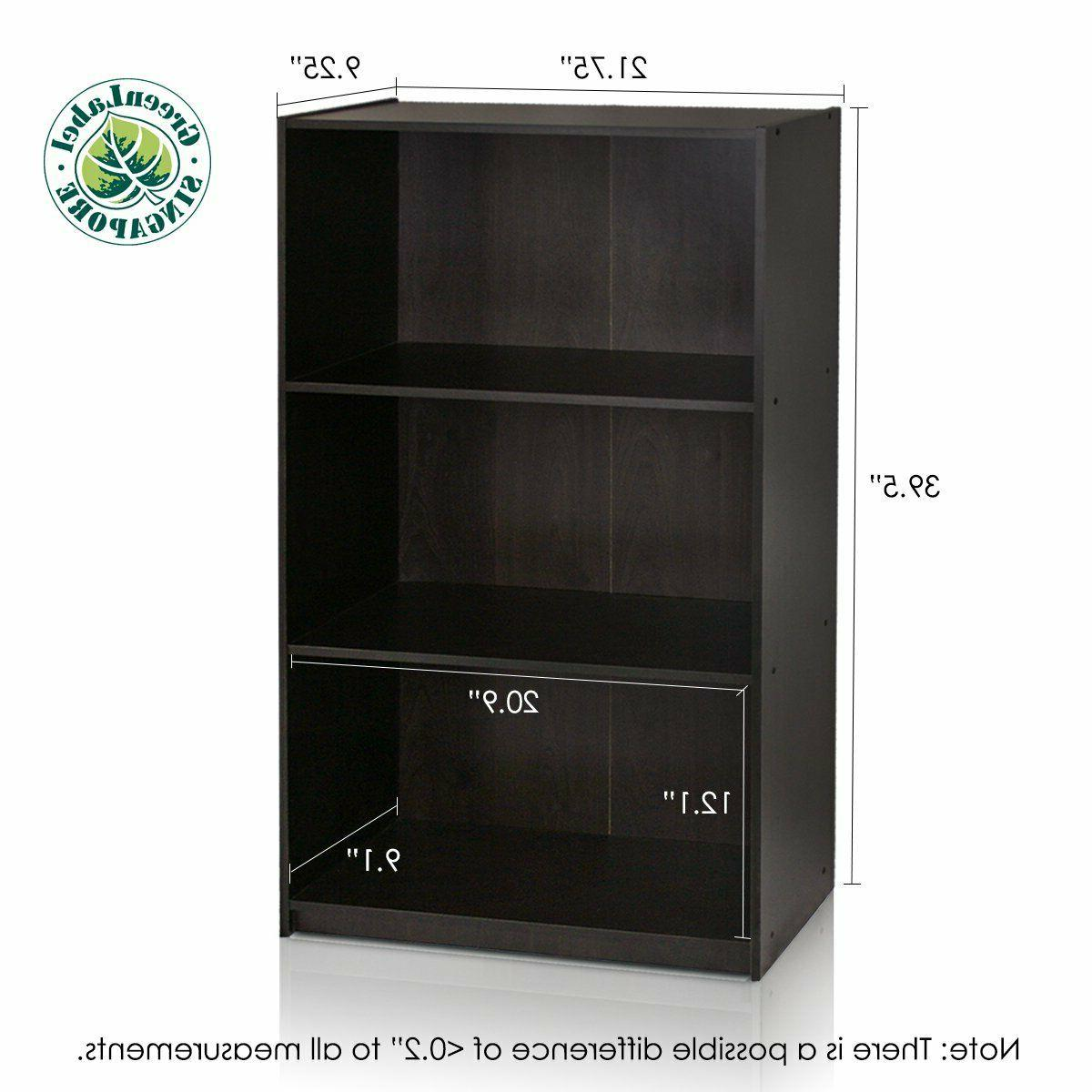 Small Bookcase For Wall Tall Narrow Adjustable Book 3 Tier