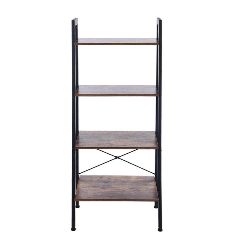 4-Tier Ladder Bookshelf Storage Rack Leaning Wall Shelving