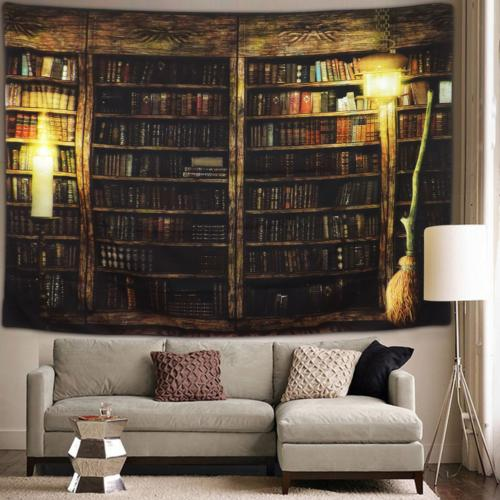 Sunm boutique Vintage Library Bookshelf Tapestry Wall Hangin