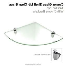 """Fab Glass and Mirror L x 14"""" W, Clear Floating Shelf  with x"""
