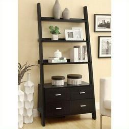 Bowery Hill Leaning Ladder Bookshelf with 2 Drawers in Cappu