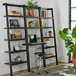 Leaning Ladder Desk Display Case Large Bookcase Shelf Wall B