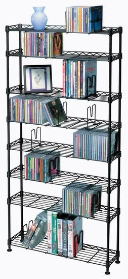 Media Storage Tower 8 Tier Metal CD DVD Stand Holder Bookshe
