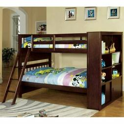 Furniture of America Minkle Bookshelf Bunk Bed in Dark Walnu