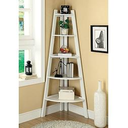 Modern Five-tier Corner Etagere Display Unit White