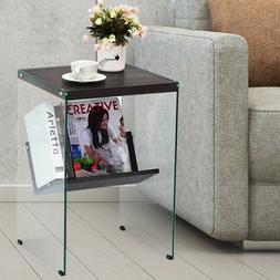 Modern Small End Tables Glass Wood Contemporary with Bookshe