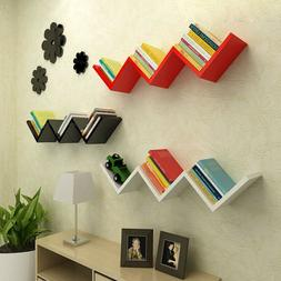 Modern Wooden W Shaped Floating Wall Mounted Shelves DVD BOO