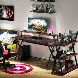 Multi-Purpose Gaming Desk with 3-Tier Shelves & Monitor Rise
