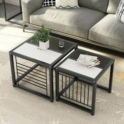 Tribesigns Nesting Coffee Tables Set of 2 Black and White Sq