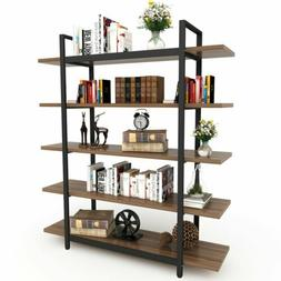New Tribesigns 5-Tier Bookshelf Large Storage Vintage Indust