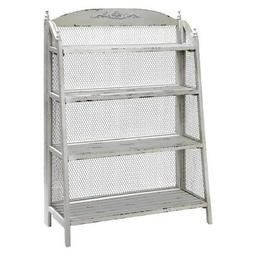 NEW DESIGNER FRENCH WOOD COTTAGE WIRE TALL ETAGERE GRAY BOOK