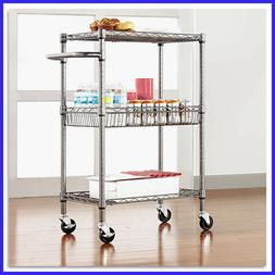 "Alera 3-Tier Wire Rolling Cart 24"" x 16"" x 39""  , Holds up t"