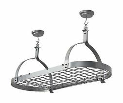 Rack It Up Oval Celling Pot Rack, Silver