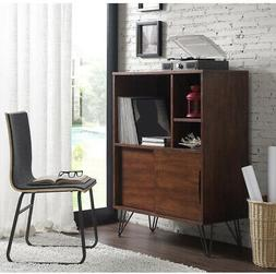 Retro Brown Wood Bookshelf Display Media Cabinet With Doors