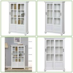 Sliding Glass Doors Bookcase Storage Cabinet Organizer Kitch