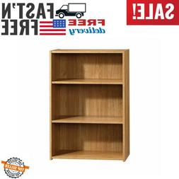 Small Bookcase Library Wooden Adjustable Shelves Storage Med
