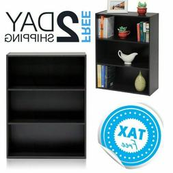Small Brown Bookshelf 3 Shelf Wooden Bookcase For Small Spac