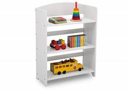 Small Kids Bookshelf Short Wooden Compact 3-Shelf Tier White