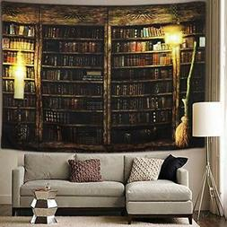 Sunm Boutique Tapestries Vintage Library Bookshelf Tapestry