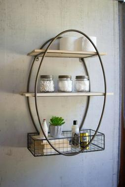 Tall Oval Metal Frame Wall Unit with Recycle Wood Shelves
