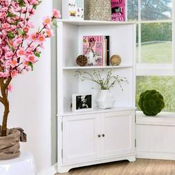 Furniture of America Varl Contemporary Solid Wood Corner Whi