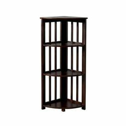 Furniture of America Vidka Corner Bookshelf in Dark Walnut