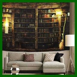 Vintage Library Bookshelf Tapestry Wall Hanging Study Room P