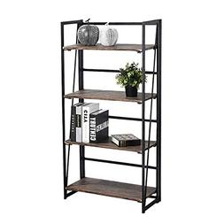 Coavas Folding Bookshelf Rack 4-Tiers Bookcase Home Office S