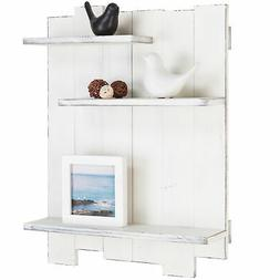 MyGift Wall-Mounted Whitewashed Wood Pallet-Style 3-Tier Dis