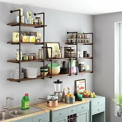 Wall Pipe Shelf 2/3/4 Tier Industrial Floating Storage Shelv
