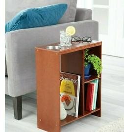 Walnut Side End Sofa Table Drink Cup Holder Storage Book She