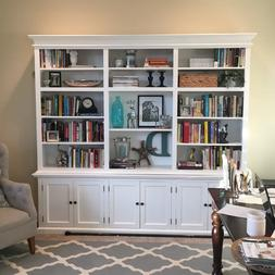 White Large LIBRARY BOOKCASE Home Office Sturdy Wood Bookshe