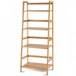 Wood Bookcase Ladder Stand Book Shelf 4 Tier Storage Unit Le